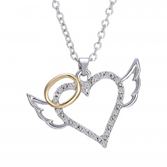 Fashion Silver Hollow Heart Crystal Pendant Necklace Chain Charm Jewelry Gifts Heart 4