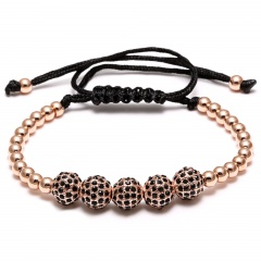 Hand-Woven Bracelet Men's Jewelry Black Rope Round Bead Adjustable Handmade Bracelet Rose Gold