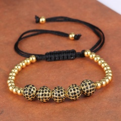 Rinhoo 4mm 8mm Round Copper Beads Bracelets Fashion Jewelry Black Woven Rope Bracelet Women Macrame Bracelet Men Gift Gold