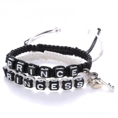 Fashion Handmade Rope With Letter Beads Couple Hand-Woven Bracelet Black+White