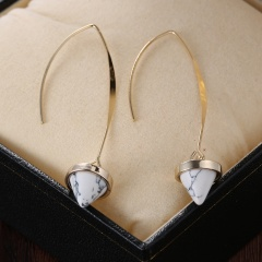 Fashion Turquoise Inlay Earrings Ear Hook Earrings For Women White