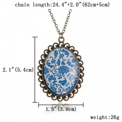 Fashion Women Flower Printing Pendant Necklace Chain Charm Jewelry Gifts Blue