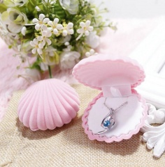 Flannel Shell Ring Earrings Jewelry Gift Box Packaging Box Pink
