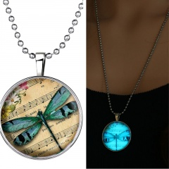 Steampunk Glow in the Dark Glowing Butterfly Bird Pendant Necklace Stainless Steel Chain Jewelry Gift Dragonfly