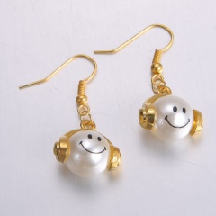 Gold Alloy with Pearl Simle Dangle Earring Fashion Simple Cute Earring Jewelry Simle
