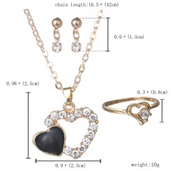 Gold Rhinestone Crystal Heart Necklace Earrings Ring Bridal Wedding Jewelry Set Fashion