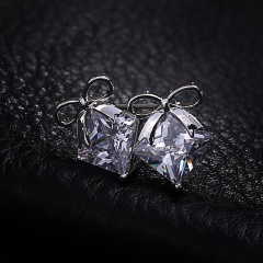 Fashion Bow Square Diamond Zircon Stud Earrings Silver