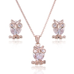 Fashion Gold Plated Big Red Lips Necklace And Earrings Set Owl
