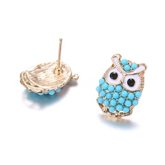 Fashion Diamond-Studded Owl Earrings Blue