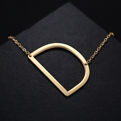 Fashion Women Gold Stainless Steel Alphabet Initial Letter Pendant Chain Necklace A-Z D