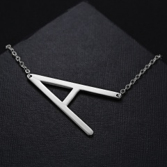 Fashion Silver Stainless Steel Letting Necklace Jewelry Wholesale A
