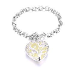 Hot Glow in the Dark Silver Heart Dangle Bracelet Orange