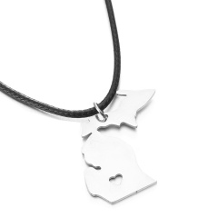Fashion Gold Silver Map Heart Pendant Necklace Chain Charm Choker Silver Map