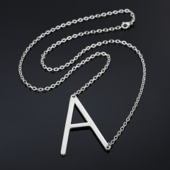 Fashion Silver Women Stainless Steel Alphabet Initial Letter Pendant Chain Necklace A-Z A