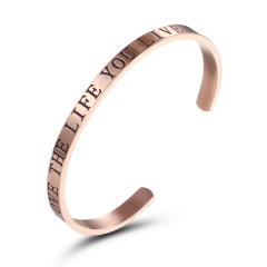 Rinhoo 1PC Rose Gold Stainless Steel LOVE THE LIFE YOU LIVE Engraved Opening Bangle & Bracelet For Women's Fashion Jewelry Gift Rose Gold