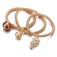 3 piece set gold rose gold bracelet fashion owl beads bracelet party jewelry gift accessories gold