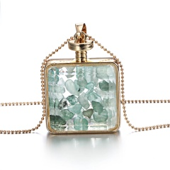 New Natural Dried Flower Resin Square Glass Floating Locket Pendant Necklace Green