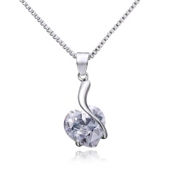 Fashion Heart Crystal Zircon Pendant Necklace Heart