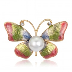 Fashion Butterfly Pearl Stained Drops Brooch Trendy Animal Alloy Rhinestone For Women Best Special Gift For Wedding Brooches butterfly3