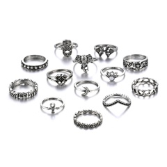 13 Pcs/Set Vintage Crown Jewelry Big Palm Set Ring Vintage Set Ring Wholesale 13pcs/set