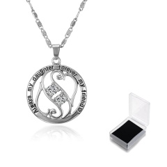 Always My Daughter Forever My Friend Fashion Lettering Silver Alloy Pendant Necklace Heart