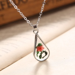 New Natural Dried Flower Glass Pendant Necklace Women Lady Wedding Lover Jewelry Water Drop Red 2