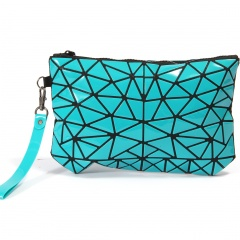 Geometrically Folded Cosmetic Bag Ladies Hand Bag Coin Purse Credit Card Pouch Cosmetics Storage Bags Women Wallets Green