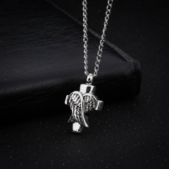 Fashion Silver Corss Wing Pendant Charm Necklace Chain Jewelry Silver