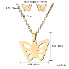Stainless Steel Snowflake Heart Pendant Earrings Necklace Jewelry Set Party Gift Butterfly
