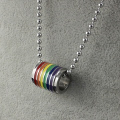 Women Men Stainless Steel Rainbow Pendant Necklace LGBT GAY Couple Jewelry Gifts Cylindrical