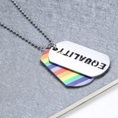 Women Men Stainless Steel Rainbow Pendant Necklace LGBT GAY Couple Jewelry Gifts EQUALITY