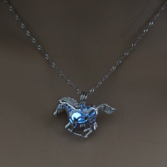 Luminous Steampunk Fly Horse Glow In The Dark Pendant Necklace Womens Jewelry Sky Blue