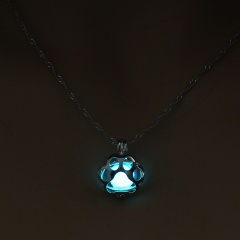 Luminous Steampunk Dog Claw Glow In The Dark Pendant Necklace Womens Jewelry Blue Green