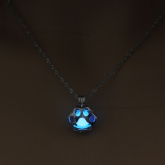 Luminous Steampunk Dog Claw Glow In The Dark Pendant Necklace Womens Jewelry Sky Blue