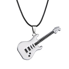 Fashion Stainless Steel Cool Guitar Pendant Necklace Women Men Leather Chain HOT Silver