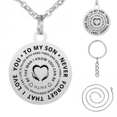 Fashion Letters TO MY SON Silver Round PENDANT Necklace Silver