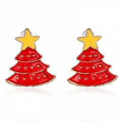 Fashion Christmas Style Stud Earring Small Cute Colorful Earring Jewelry Wholesale Tree