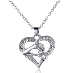 Mom Grandma 18K White Gold Filled Rhinestone Heart Necklace Mother's Day Gift Sliver Mom Hand