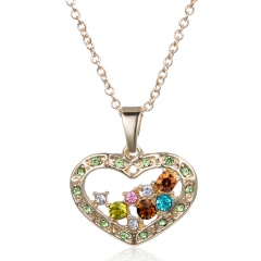 Gold Fashion Heart Love Crystal Pendant Necklace heart