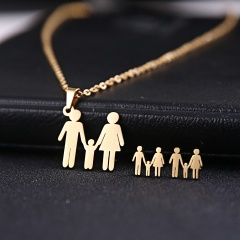 Stainless Steel Gold Plated Horse Heart Pendant Necklace Earrings Jewelry Set Family of three