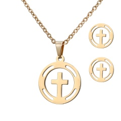 Stainless Steel Gold Plated Horse Heart Pendant Necklace Earrings Jewelry Set Cross