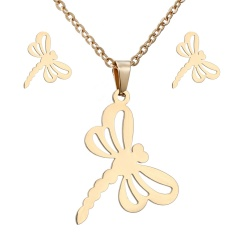 Stainless Steel Gold Plated Horse Heart Pendant Necklace Earrings Jewelry Set Dragonfly