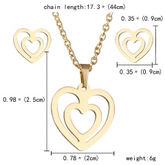 Gold Hollow Women Pendant Necklace Earrings Ear Stud Wedding Jewellery Set Gift Heart