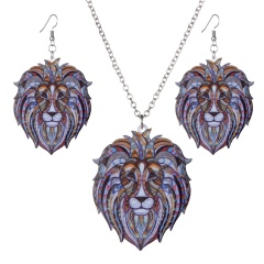Fashion Animal panda lion Necklace Earrings Lion