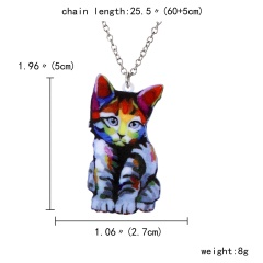 Cute Printing Flower Animal Cat Dog Horse Sun Moon Pendant Necklace Gift New Colorful Cat