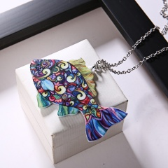 New Printing Flower Animal Cat Horse Dog Sun Moon Pendant Necklace Jewellery Fish