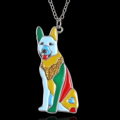 Fashion Cute Printing Enamel Animal Dog Elephant Pendant Necklace Gift Shepherd dog