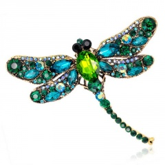 Vintage Crystal Dragonfly Brooches For Women Collar Pins Dragonfly Brooch Green Dragonfly