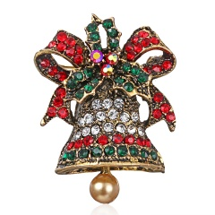Rinhoo Big Flower Brooch pins Crystal Brooches For women flower crystal pendant Clothes Decoration Fashion New Year Gift bell