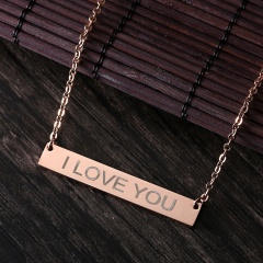 DIY Personalized Custom Stainless Steel Free Engraving Name Bar Necklace Gift Rose Gold